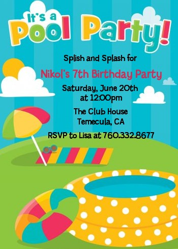 Pool birthday party invitations for pool party invitations pool party birthday party invitations filmwisefo Image collections