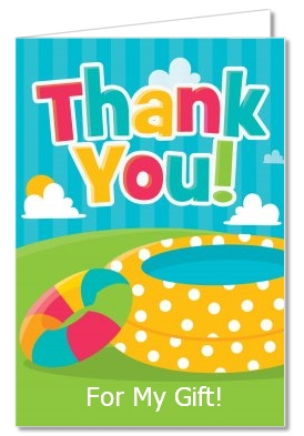 birthday party thank you cards pool party thank you notes