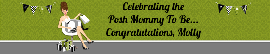 Posh Mom To Be Neutral - Personalized Baby Shower Banners Brown Hair