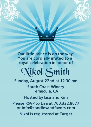 Prince Royal Crown Baby Shower Invitations Candles and Favors
