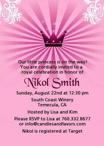 princess royal crown baby shower invitations  candles and favors, Baby shower invitations