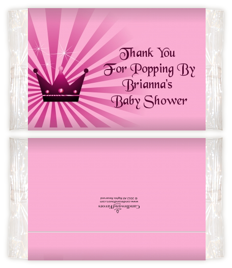 Princess Royal Crown Baby Shower Popcorn Wrappers Baby Shower