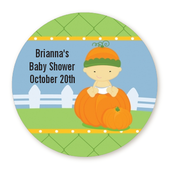 Pumpkin Baby Asian - Round Personalized Baby Shower Sticker Labels