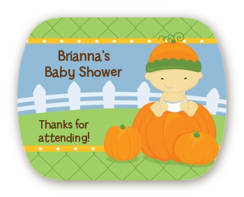 Pumpkin Baby Asian - Personalized Baby Shower Rounded Corner Stickers