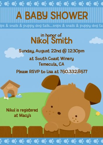 Puppy dog tails boy baby shower invitations candles and favors puppy dog tails boy baby shower invitations filmwisefo