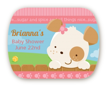 Puppy Dog Tails Girl - Personalized Baby Shower Rounded Corner Stickers