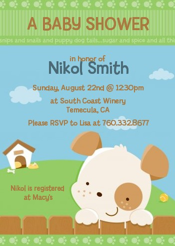 Puppy dog tails neutral baby shower invitations candles and favors puppy dog tails neutral baby shower invitations filmwisefo