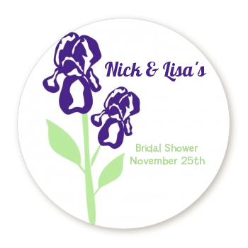 Purple Irises - Round Personalized  Sticker Labels
