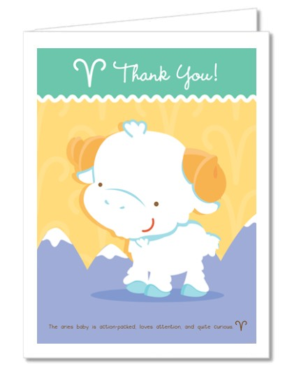 ram aries horoscope baby shower thank you cards