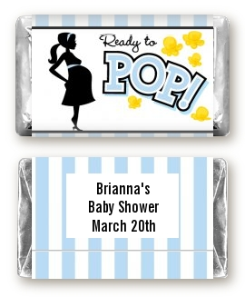 Ready To Pop Blue Baby Shower Miniature Candy Bar Wrappers
