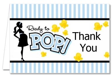 ready to pop stickers template - baby shower thank you cards ready to pop blue thank you