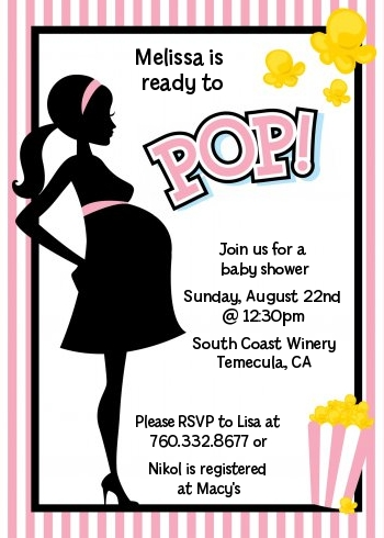 Ready To Pop Pink Baby Shower Invitations | Candles and Favors