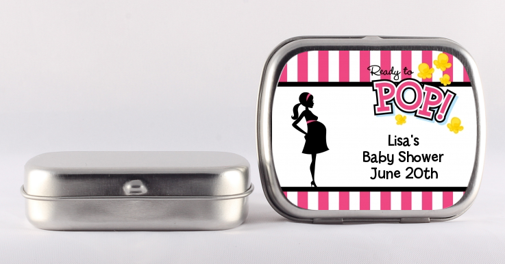 Ready To Pop Pink - Personalized Baby Shower Mint Tins Dark Pink