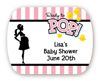 Ready To Pop Pink Mint Tin Stickers Baby Shower Stickers