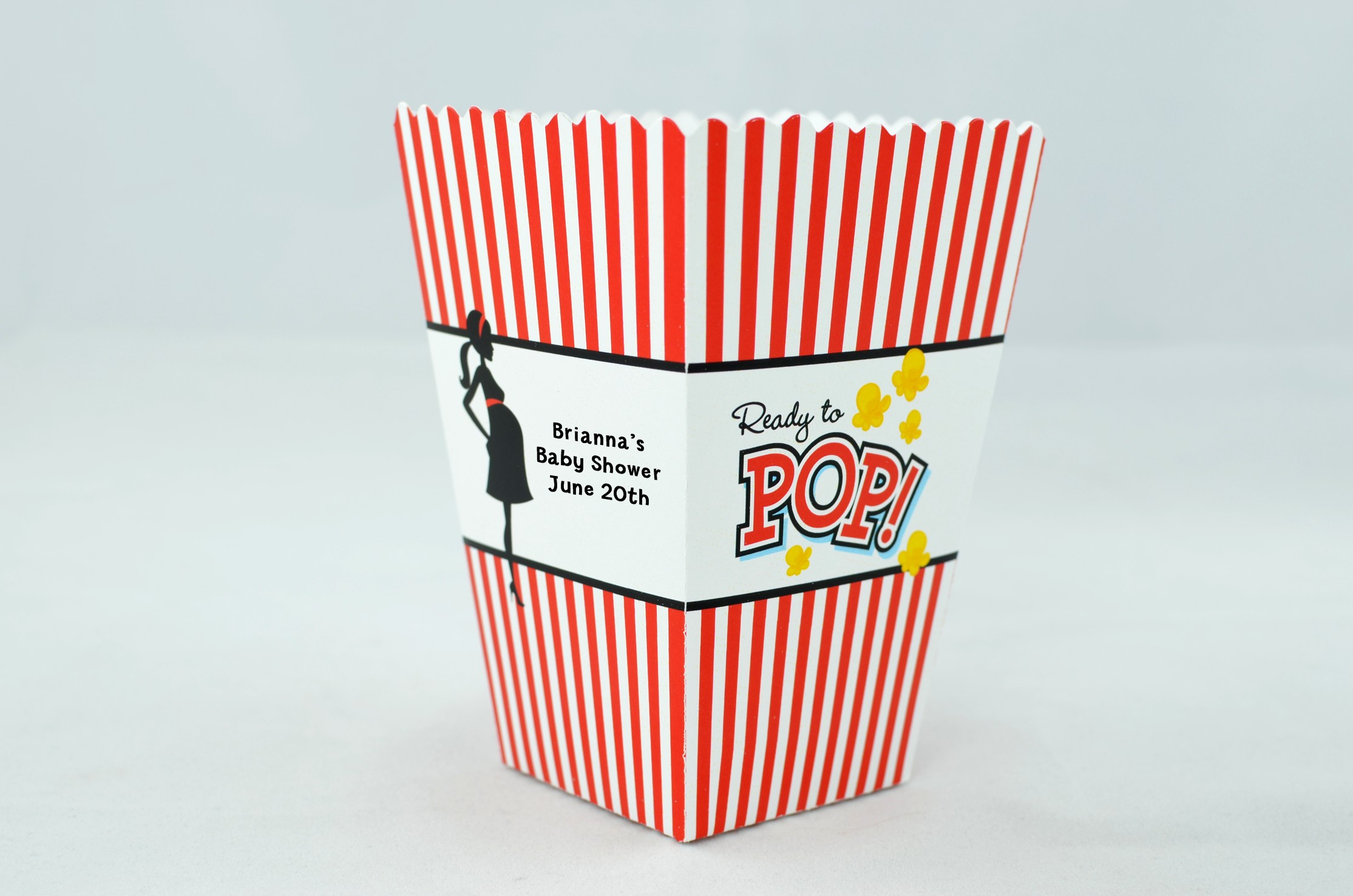 Ready to pop personalized baby shower popcorn boxes for Ready to pop popcorn boxes