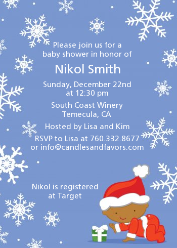 Christmas Baby Snowflakes African American Shower Invitations