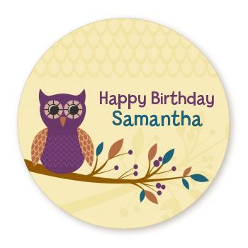 Retro Owl - Round Personalized Birthday Party Sticker Labels
