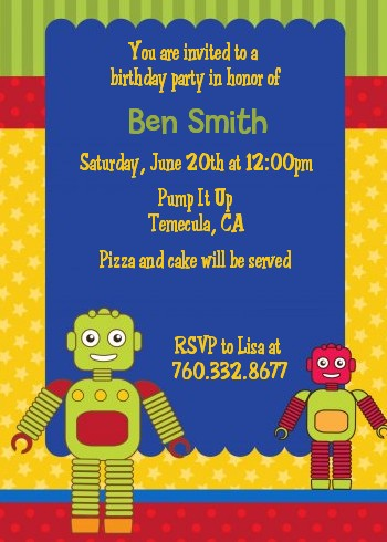 Robot Party - Birthday Party Invitations