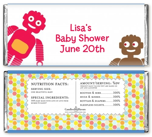 robots baby shower candy bar wrappers candles favors