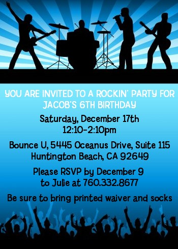 rock band like a rock star boy birthday party invitations