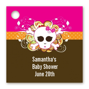 Rock Star Baby Girl Skull - Personalized Baby Shower Card Stock Favor Tags