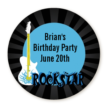 Rock Star Guitar Blue - Round Personalized Birthday Party Sticker Labels