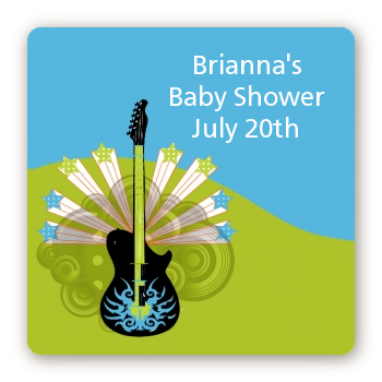 Future Rock Star Boy - Square Personalized Baby Shower Sticker Labels