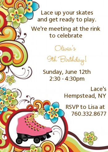 Roller Skating Party Invitation | Roller Skating Birthday Party Invitations Candles And Favors