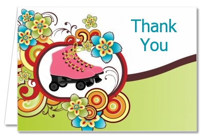 Birthday party thank you cards roller skating thank you notes roller skating birthday party thank you cards bookmarktalkfo Image collections
