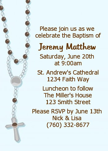 Rosary Beads Blue - Baptism / Christening Invitations