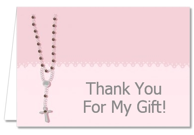 Rosary Beads Pink - Baptism / Christening Thank You Cards