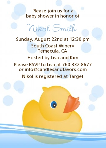 Rubber Ducky Baby Shower Invitations Rubber Ducky Themed Invitations