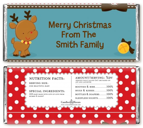 Rudolph the Reindeer Christmas Candy Bar Wrappers | Candles & Favors