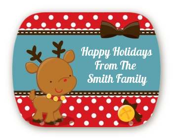 Rudolph the Reindeer - Personalized Christmas Rounded Corner Stickers
