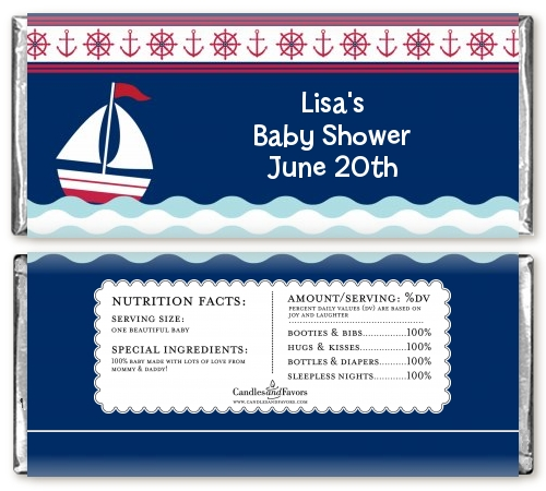 sailboat blue baby shower candy bar wrappers candles favors