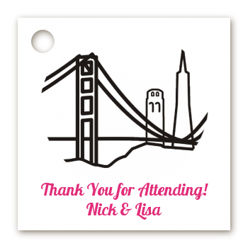 San Francisco Skyline - Personalized Bridal Shower Card Stock Favor Tags