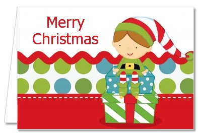 santas little elf christmas thank you cards