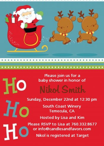 Santa And His Reindeer - Christmas Invitations