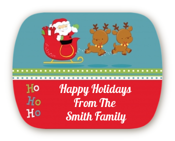 Santa And His Reindeer - Personalized Christmas Rounded Corner Stickers