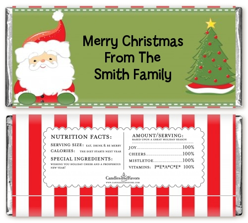 santa claus personalized christmas candy bar wrappers