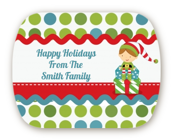 Santa's Little Elf - Personalized Christmas Rounded Corner Stickers