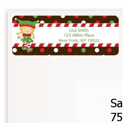 santa s little elfie baby shower return address labels baby shower
