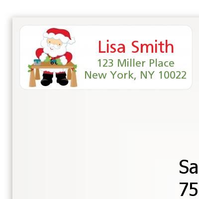 santas work shop christmas return address labels
