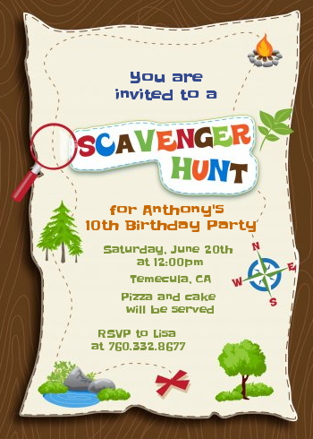Scavenger Hunt Birthday Party Invitations | Candles and Favors