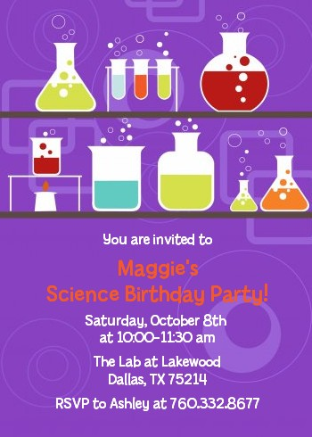 Science Lab Birthday Party Invitations Candles and Favors