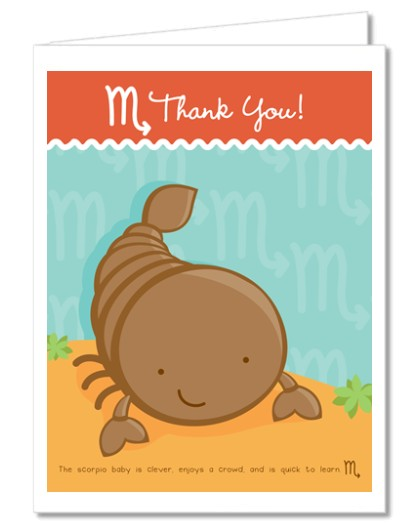 Baby Shower Thank You Cards | Scorpion | Scorpio Horoscope Thank