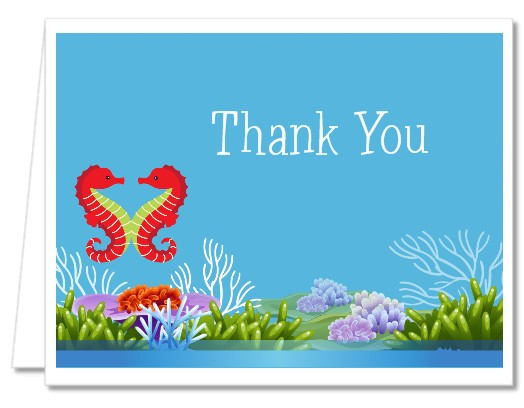 Bridal Shower Thank You Cards Seahorses Thank You Notes