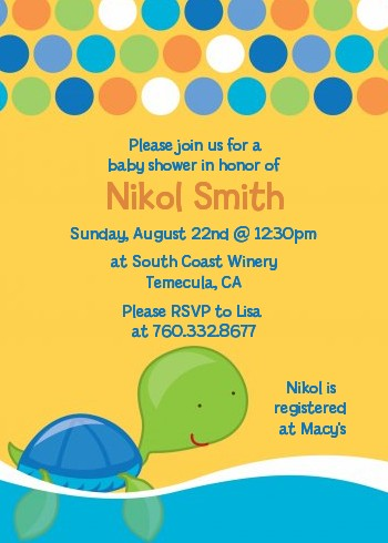 Sea Turtle Boy Baby Shower Invitations Candles And Favors