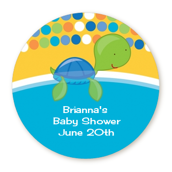 Sea Turtle Boy - Round Personalized Baby Shower Sticker Labels