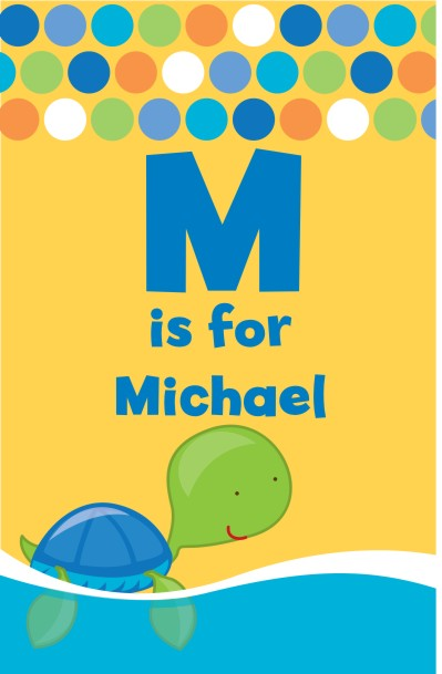 Sea Turtle Boy - Personalized Baby Shower Nursery Wall Art
